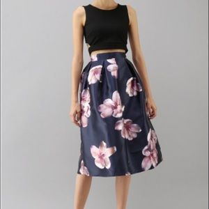 New Chicwish Peach Blossom Midi Skirt in Navy